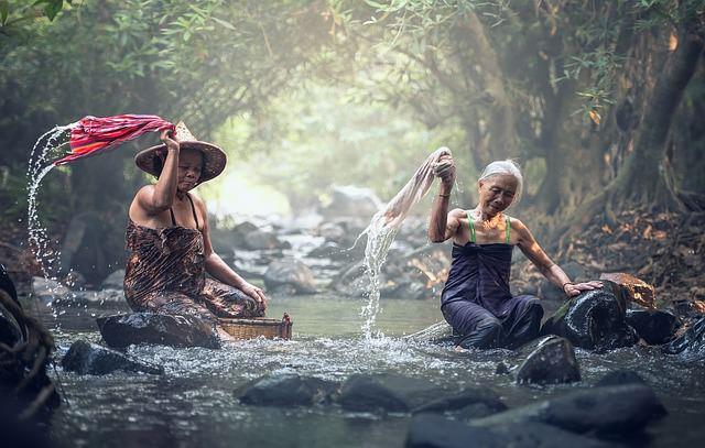 Backpacking in Laos - Waesche waschen